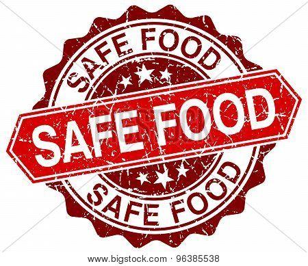 Safe Food Red Round Grunge Stamp On White