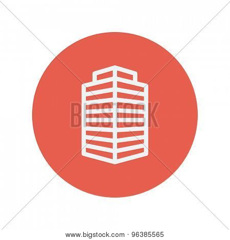 Small office building thin line icon for web and mobile minimalistic flat design. Vector white icon inside the red circle.