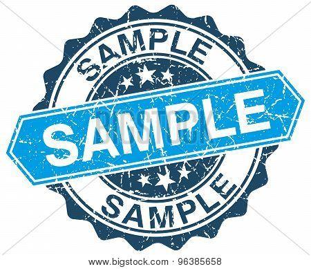 Sample Blue Round Grunge Stamp On White