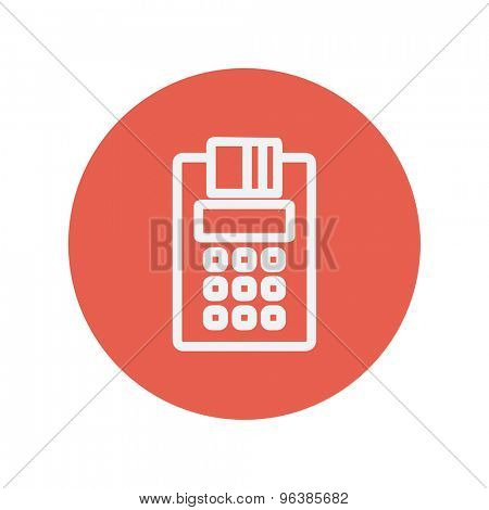Electric calculator with paper thin line icon for web and mobile minimalistic flat design. Vector white icon inside the red circle.