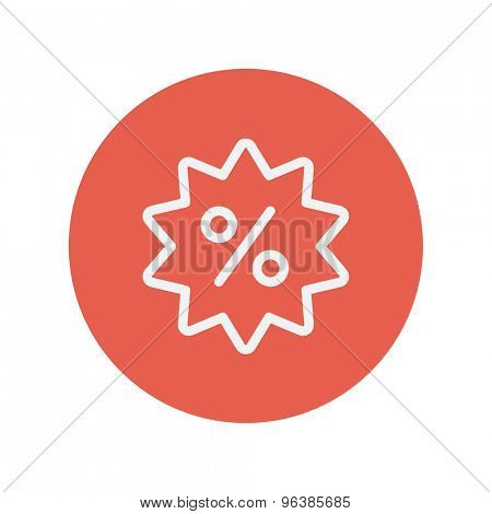 Discount tag thin line icon for web and mobile minimalistic flat design. Vector white icon inside the red circle.
