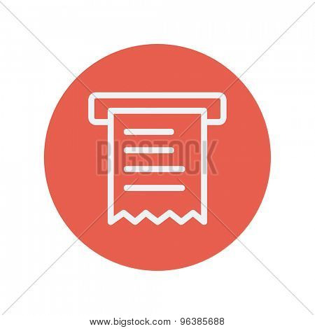 Paper towel with roller thin line icon for web and mobile minimalistic flat design. Vector white icon inside the red circle.