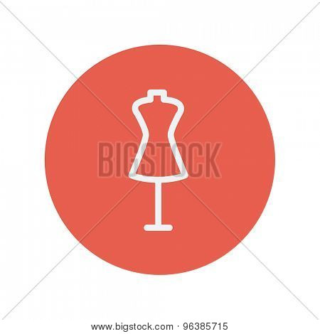 Mannequin thin line icon for web and mobile minimalistic flat design. Vector white icon inside the red circle.