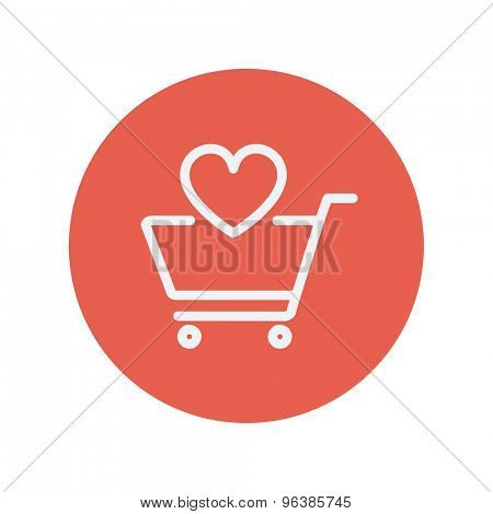 Shopping cart with heart thin line icon for web and mobile minimalistic flat design. Vector white icon inside the red circle.