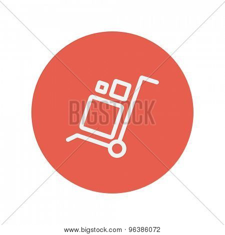 Trolley with boxes thin line icon for web and mobile minimalistic flat design. Vector white icon inside the red circle.