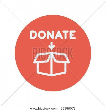 Donation box thin line icon for web and mobile minimalistic flat design. Vector white icon inside the red circle.
