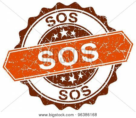 Sos Orange Round Grunge Stamp On White