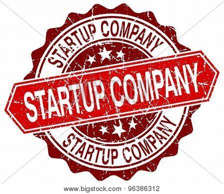 Startup Company Red Round Grunge Stamp On White