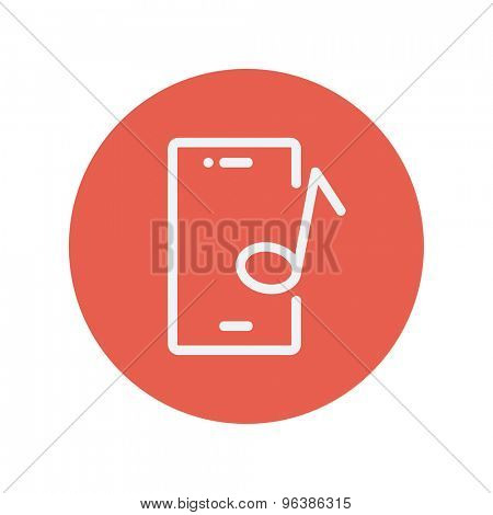 Smartphone with music note thin line icon for web and mobile minimalistic flat design. Vector white icon inside the red circle.