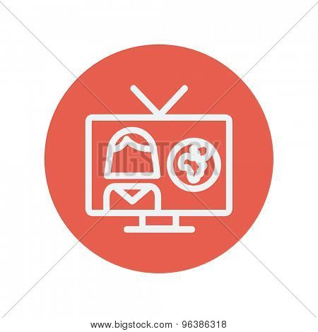 TV weather reporter thin line icon for web and mobile minimalistic flat design. Vector white icon inside the red circle.