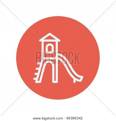 Playhouse with slide thin line icon for web and mobile minimalistic flat design. Vector white icon inside the red circle.
