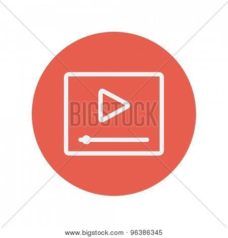 Play button with fast forward thin line icon for web and mobile minimalistic flat design. Vector white icon inside the red circle.