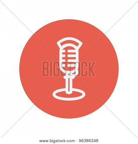 On air microphone thin line icon for web and mobile minimalistic flat design. Vector white icon inside the red circle.