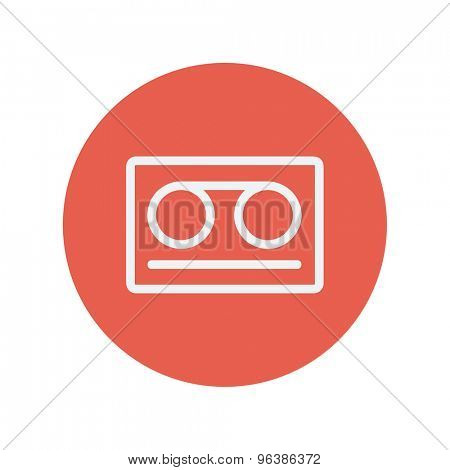 Cassette tape thin line icon for web and mobile minimalistic flat design. Vector white icon inside the red circle.
