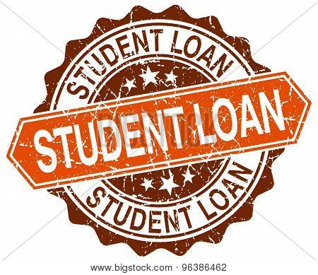 Student Loan Orange Round Grunge Stamp On White