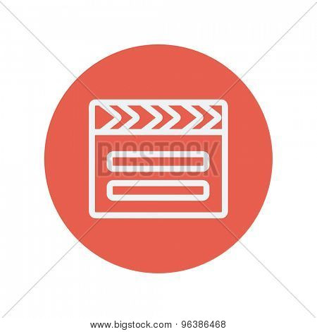 Clapboard thin line icon for web and mobile minimalistic flat design. Vector white icon inside the red circle.