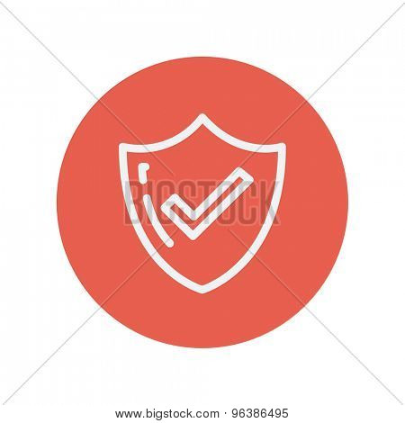 Bestseller guaranteed badge thin line icon for web and mobile minimalistic flat design. Vector white icon inside the red circle.
