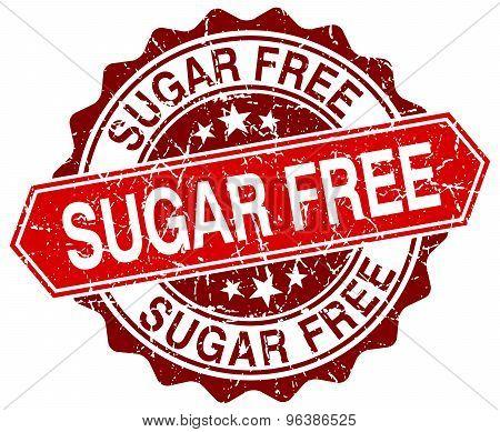 Sugar Free Red Round Grunge Stamp On White
