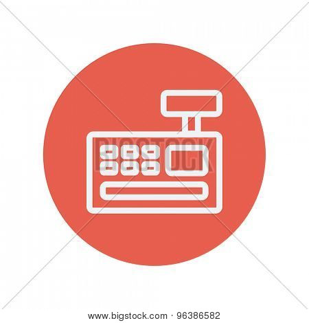 Cash register machine thin line icon for web and mobile minimalistic flat design. Vector white icon inside the red circle.