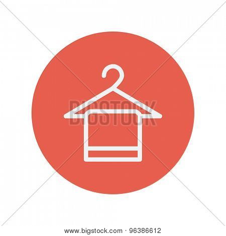 Towel on hanger thin line icon for web and mobile minimalistic flat design. Vector white icon inside the red circle.