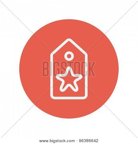 Tag with star best offer sale thin line icon for web and mobile minimalistic flat design. Vector white icon inside the red circle.