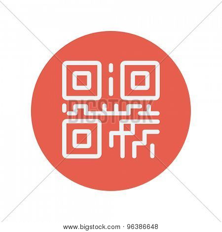 QR code thin line icon for web and mobile minimalistic flat design. Vector white icon inside the red circle.