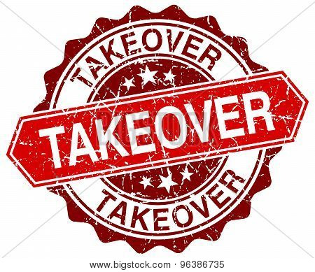 Takeover Red Round Grunge Stamp On White