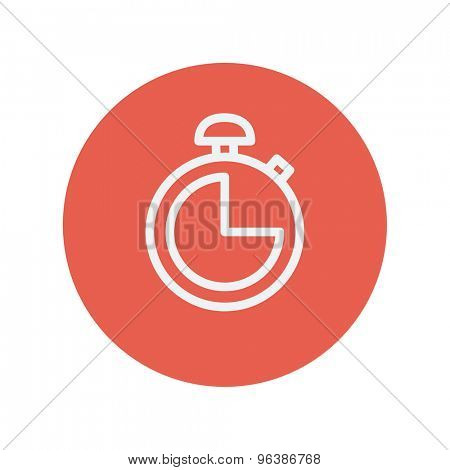 Stopwatch thin line icon for web and mobile minimalistic flat design. Vector white icon inside the red circle.