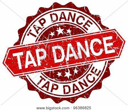Tap Dance Red Round Grunge Stamp On White