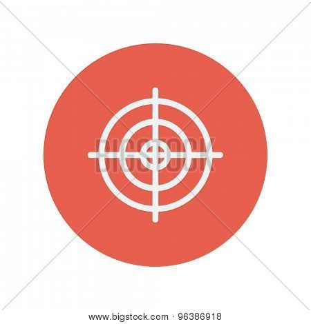 Crosshair target thin line icon for web and mobile minimalistic flat design. Vector white icon inside the red circle.