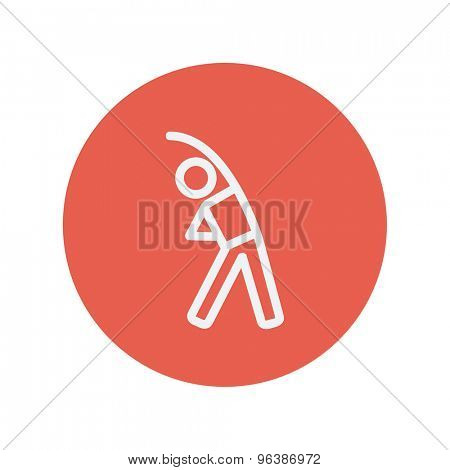 Man do stretching thin line icon for web and mobile minimalistic flat design. Vector white icon inside the red circle.