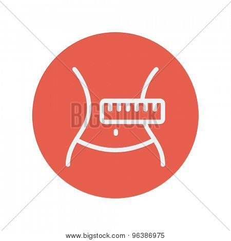 Slimming body with measuring tape thin line icon for web and mobile minimalistic flat design. Vector white icon inside the red circle.