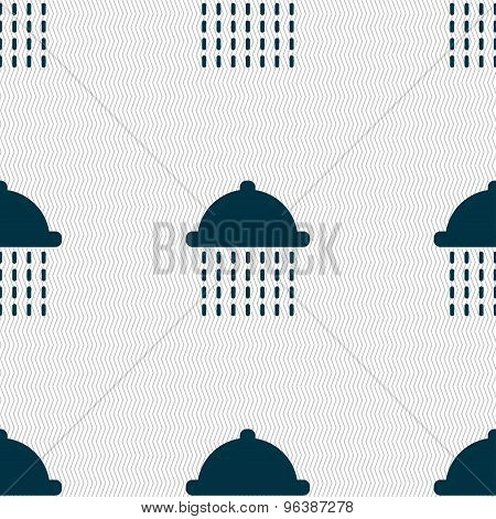 Shower Icon Sign. Seamless Pattern With Geometric Texture. Vector