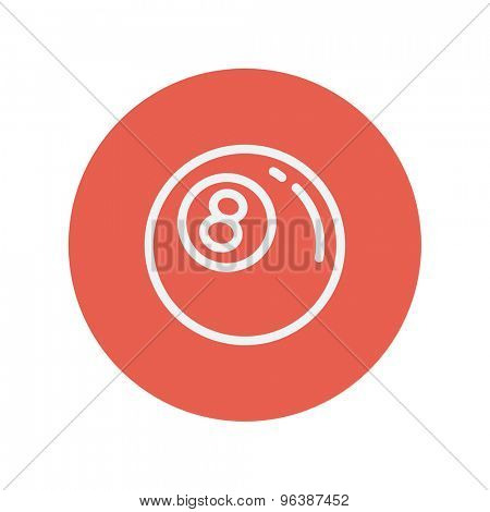 Billiard ball thin line icon for web and mobile minimalistic flat design. Vector white icon inside the red circle