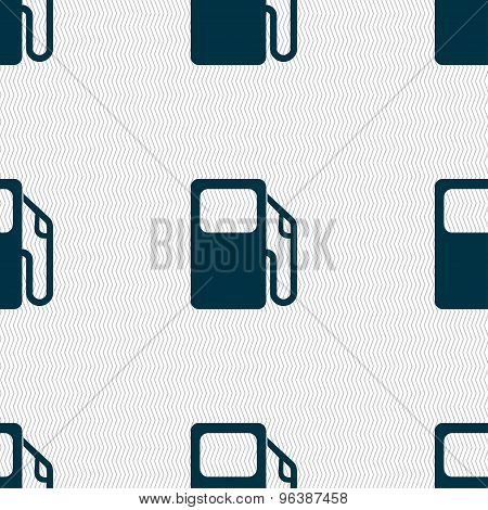 Auto Gas Station Icon Sign. Seamless Pattern With Geometric Texture. Vector