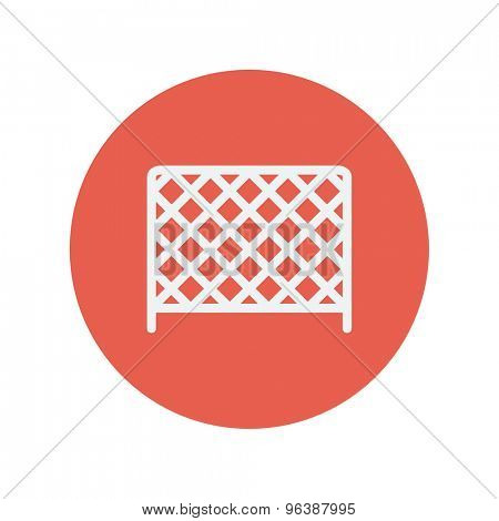 Ice hockey goal net thin line icon for web and mobile minimalistic flat design. Vector white icon inside the red circle