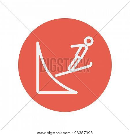 Skier jump in the air thin line icon for web and mobile minimalistic flat design. Vector white icon inside the red circle.
