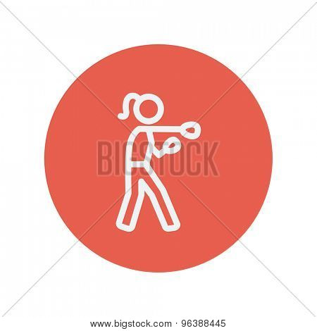 Female boxer thin line icon for web and mobile minimalistic flat design. Vector white icon inside the red circle.