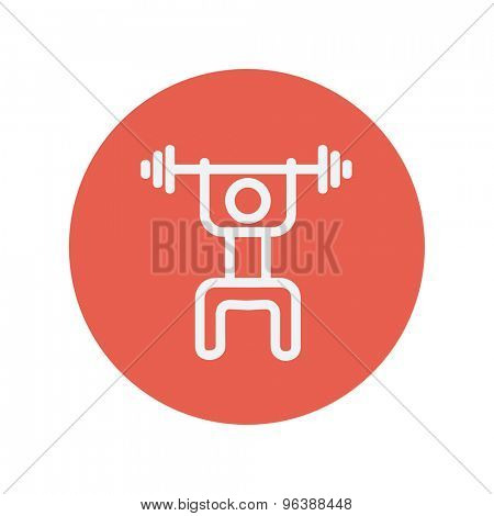 Weightlifter man with barbell thin line icon for web and mobile minimalistic flat design. Vector white icon inside the red circle.