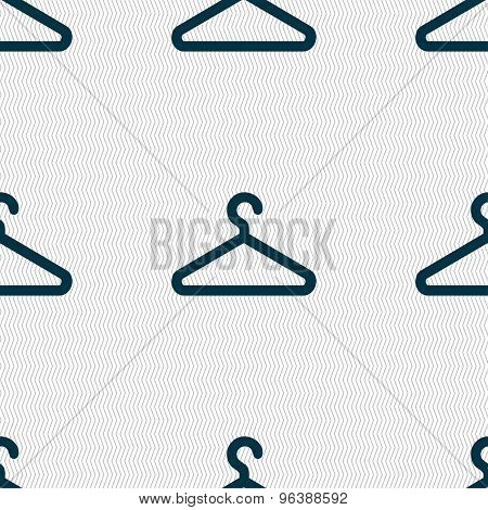 Clothes Hanger Icon Sign. Seamless Pattern With Geometric Texture. Vector