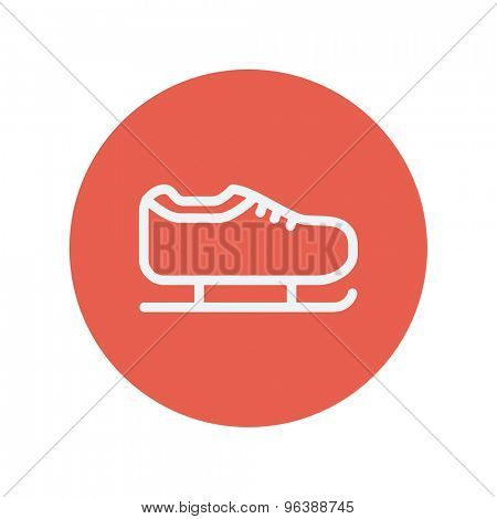 Ice skate thin line icon for web and mobile minimalistic flat design. Vector white icon inside the red circle.