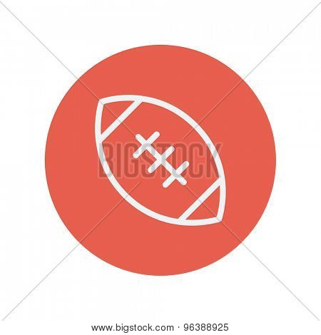 Football ball thin line icon for web and mobile minimalistic flat design. Vector white icon inside the red circle