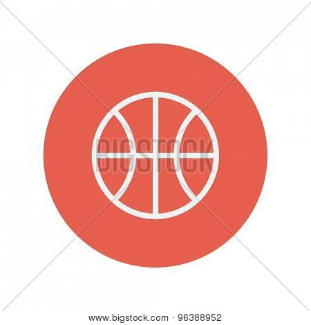 Basketball ball thin line icon for web and mobile minimalistic flat design. Vector white icon inside the red circle