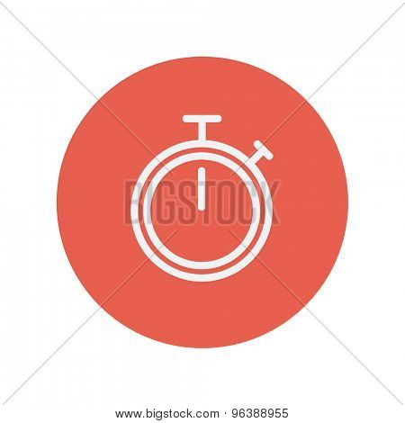 Stop watch thin line icon for web and mobile minimalistic flat design. Vector white icon inside the red circle