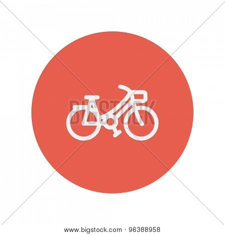 Vintage bicycle thin line icon for web and mobile minimalistic flat design. Vector white icon inside the red circle