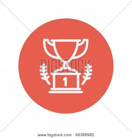 Trophy for first place winner thin line icon for web and mobile minimalistic flat design. Vector white icon inside the red circle