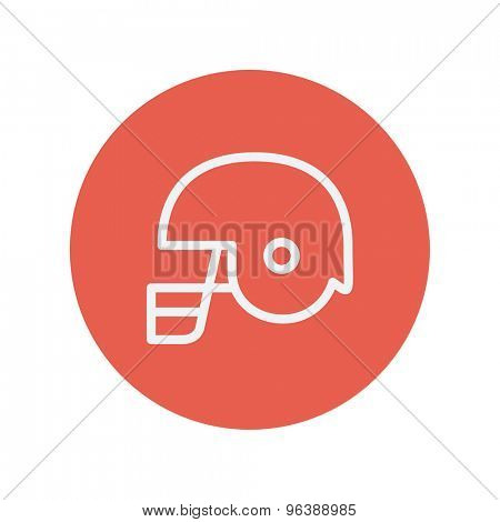 Football helmet thin line icon for web and mobile minimalistic flat design. Vector white icon inside the red circle
