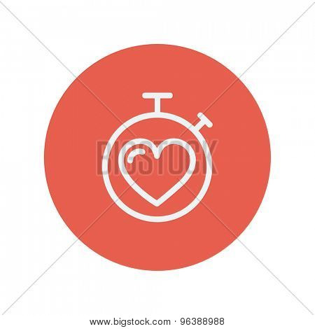 Heart time thin line icon for web and mobile minimalistic flat design. Vector white icon inside the red circle