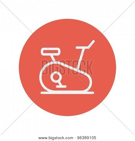 Fitness cycling thin line icon for web and mobile minimalistic flat design. Vector white icon inside the red circle