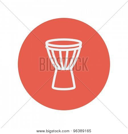 Timpani thin line icon for web and mobile minimalistic flat design. Vector white icon inside the red circle